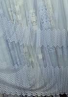Белый тюль с вышивкой (основа-фатин) с пустыми полями, оптом, фото 1