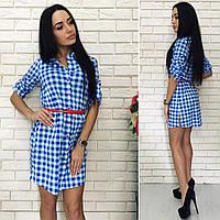 Женское стильное платье-рубашка с контрастным ремнем, фото 1