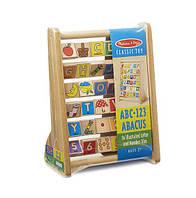 """Детская деревянная игрушка счеты """"Алфавит/Цифры"""" для детей от 2-х лет (ABC-123 Abacus) ТМ Melissa&Doug"""