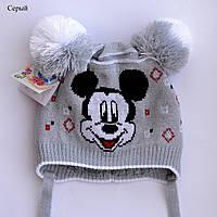 Детская шапка Микки с двумя помпонами, фото 1
