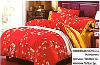 Полуторный комплект постельного белья горчица/сакура на красном