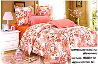 Полуторный комплект постельного белья розовый цветок
