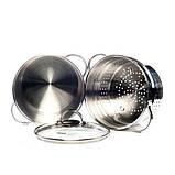 Кастрюля для варки макарон Fissman Gabriela 4,5 л. (Нержавеющая сталь, стеклянная крышка), фото 2