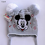 Детская шапка с двумя помпонами с вышивкой Микки Мауса, фото 7