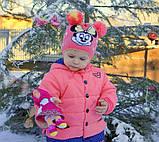 Детская шапка с двумя помпонами с вышивкой Микки Мауса, фото 4