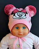 Детская шапка с двумя помпонами с вышивкой Микки Мауса, фото 3