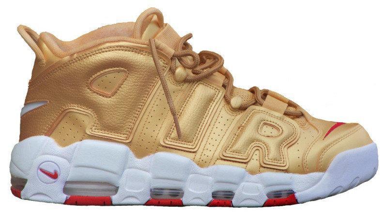 Женские кроссовки Nike Air More Uptempo Metallic Gold White