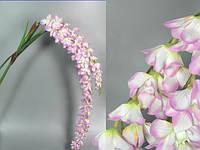 Орхидея / 2 ветки / 1,75 м / 62 цветка / 7 листьев / Бело-сиреневый 175x10x10 см