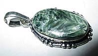 """Овальный серебряный кулон  с натуральным серафинитом """"Елка"""" ,  от студии LadyStyle.Biz, фото 1"""