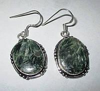 """Хорошенькие серебряные серьги  с натуральным серафинитом """"Елка"""" ,  от студии LadyStyle.Biz, фото 1"""