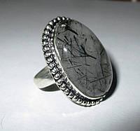 """Кольцо с турмалиновым кварцем волосатиком """"Шерл"""", размер  18,8 от студии LadyStyle.Biz, фото 1"""