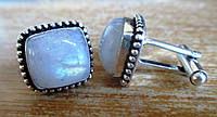 """Квадратные серебряные запонки  с  лунным камнем """"Лунник""""  от студии LadyStyle.Biz, фото 1"""