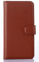 Кожаный чехол книжка для Nokia Lumia 930 коричневый