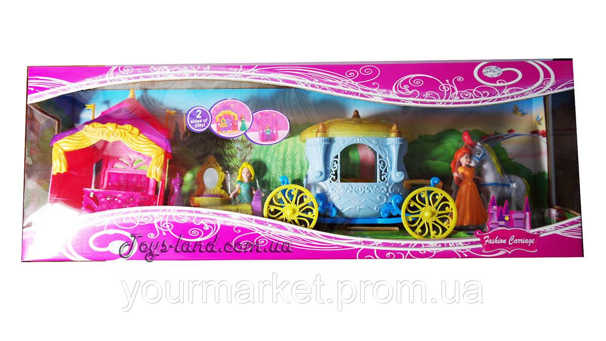 Игровой набор  Кукла принцесса с аксессуарами, мебелью и каретой 007Г
