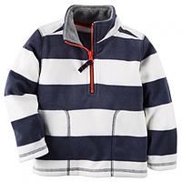 Флисовая кофта, свитер, реглан поддева Carters для мальчика сине-белая, Размер 5, Размер 5