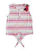"""Блузка с коротким рукавом для девочки """"Цветы вышивка гладью"""" в полоску """"NK Unsea"""", розовый, 104(104-152), 104 см"""