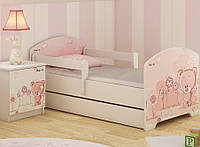 Детская кровать Oskar+ящик Розовый Мишка 140 х 70 Baby Boo 100183