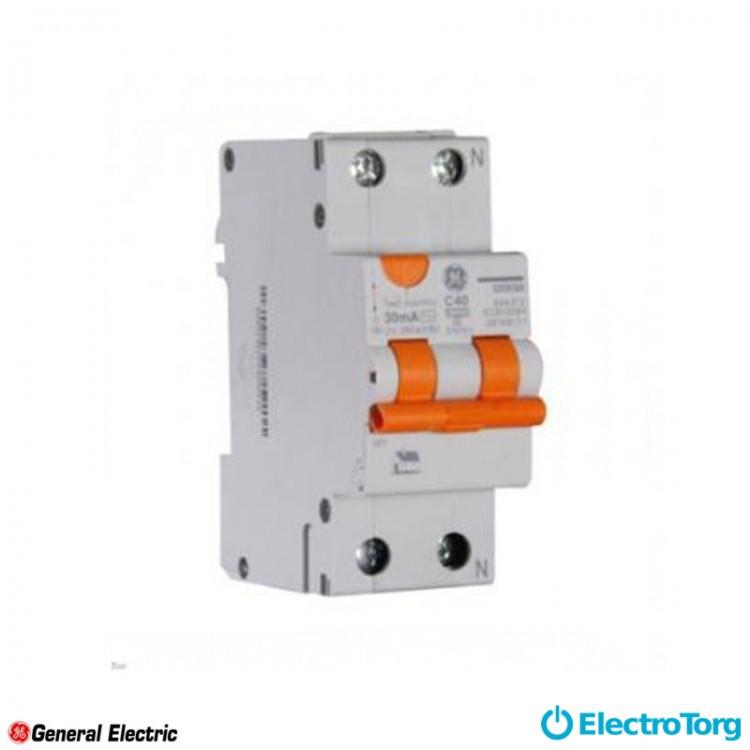 Дифференциальный автоматический выключатель DDM60C40/030 2P AC, 6kA General Electric