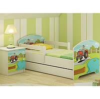 Детская кровать Oskar+ящик Цветной трактор 140 х 70 Baby Boo 100192