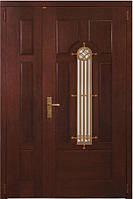Входные двери двухстворчатые Сталь М, модель Премьер массив дуба, Дверной блок