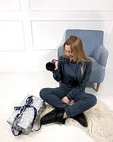 Женский теплый костюм с Ангоры синего цвета