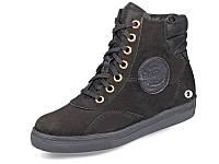 Женские ботинки зимние на меху кожаные mida 24558нуб.ч черные   зимние