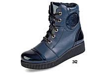 Женские ботинки зимние на меху кожаные mida 24494син синие   зимние
