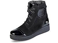 Женские ботинки зимние на меху кожаные mida 24494вел.ч черные   зимние