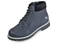 Женские ботинки зимние на меху кожаные mida 24368син синие   зимние