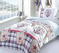 Подростковое полуторное постельное белье с простыню на резинке 90*200*25, Якорь, бязь