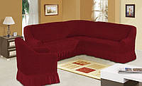 Чехол на угловой диван +1 кресло с оборкой. Цвет бордо
