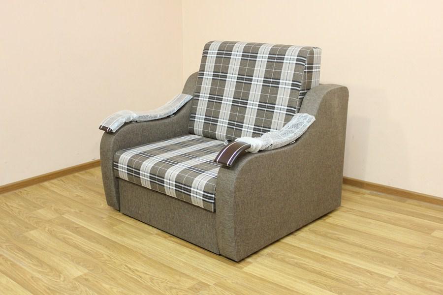 Кресло-кровать Адель 0,8 Шотландия кофе и однотон (Катунь ТМ)