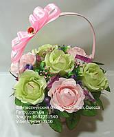 """Небольшой букет роз из конфет """"Нежный шелест""""№7+6"""