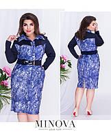 Платье–футляр с фигурными вставками на груди и отложным воротником с пуговицами на планке Размер: 50, 52, 54,