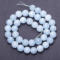 Бусины из натурального камня Аквамарин бледно голубой на нитке гладкий шарик d- 10мм L-38см