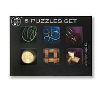 Набор из 6 штук головоломок разного уровня сложности (3-х металлических, 3-х бамбуковых)
