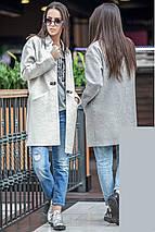 Женское короткое пальто весна-осень с фигурным вырезом без воротника , фото 2