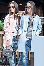 Женское короткое пальто весна-осень с фигурным вырезом без воротника , фото 3