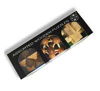 Набор из 3 штук бамбуковых головоломок разного уровня сложности