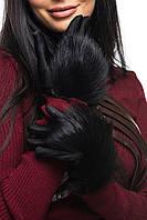 Женские перчатки с натуральным мехом лисы (1012-3134 br) черный