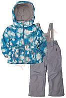 """Костюм куртка и полукомбинезон зимний для девочки """"Зимние гвоздики"""" """"Babyline"""", голубой, 128(122-140), 128 см"""