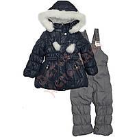 """Костюм куртка и полукомбинезон зимний для девочки с опушкой и меховой подстёжкой """"Сердечки"""" """"Evolution"""", синий, 80(80-104), 80 см"""