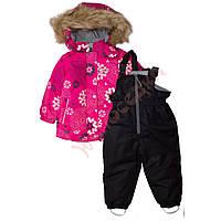 """Костюм куртка и полукомбинезон зимний для девочки с опушкой """"Цветы"""" """"Joiks"""", малиновый, 74(74-98), 74 см"""