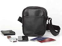 Барсетка NIKE из эко-кожи, сумка через плечо, мессенджер найк черного цвета, размер L
