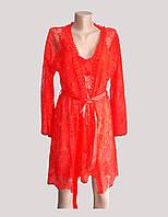 Кружевной халат пеньюар и стринги красный 44-46 Sweet гипюр