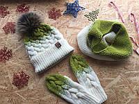 Комплект детский: шапка, снуд и варежки