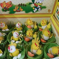 Цыплята пасхальные в гнезде