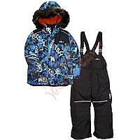 """Костюм куртка и полукомбинезон зимний для мальчика с опушкой и меховой подстёжкой """"Weish"""" """"Evolution"""", синий, 122(110-128), 122 см"""