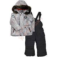 """Костюм куртка и полукомбинезон зимний для мальчика с опушкой и меховой подстёжкой """"Снежинки и олени"""" """"Evolution"""", Серый, 104(80-104), 104 см"""