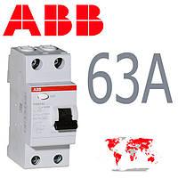 УЗО ABB 2-полюса 63A 30mA FH 202